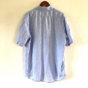 L.L. Bean Shirts - LL Bean Men's 100% Linen Short Sleeve Blue Shirt